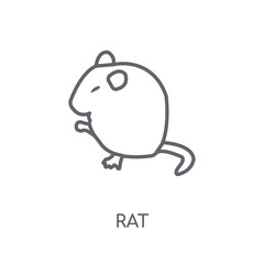 Rat linear icon. Modern outline Rat logo concept on white background from animals collection