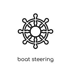 Boat Steering Wheel icon. Trendy modern flat linear vector Boat Steering Wheel icon on white background from thin line Nautical collection