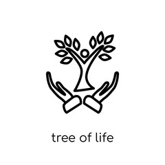 Tree of Life icon. Trendy modern flat linear vector Tree of Life icon on white background from thin line Religion collection