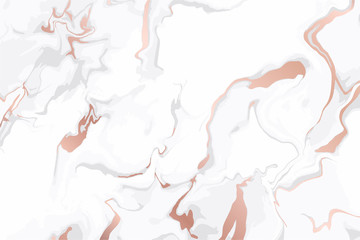 Fotobehang - Rose gold marbling and white marble background texture vector template.