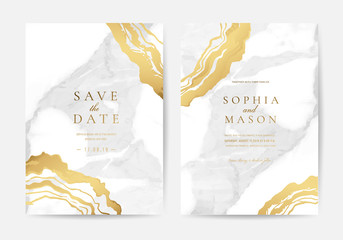 Luxury Marble and marbling Wedding Invitation, Thank you card, Greeting, RSVP card vector template.