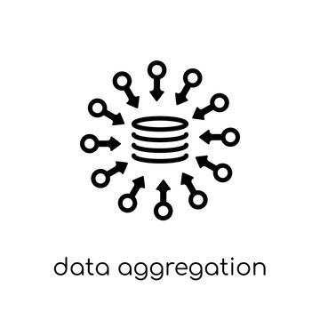 data aggregation icon. Trendy modern flat linear vector data aggregation icon on white background from thin line general collection