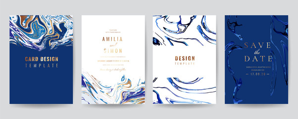 Wedding Invitation, Thank you Card, rsvp, posters, modern card Design Collection. Trendy Marble background, Marbling texture design in navy blue ,green turquoise and golden texture vector temple. Fotoväggar
