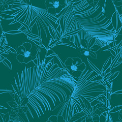 Monotone green Outline forest   palm trees and tropical forest on the dark green background.
