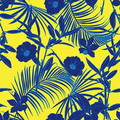 Beautiful vintage  Outline bright summer forest   palm trees and tropical  on stylish vivid yellow background. Vector seamless pattern.