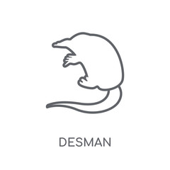 Desman linear icon. Modern outline Desman logo concept on white background from animals collection
