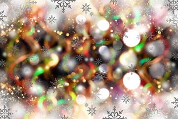 красивый блестящий праздничный фон с блестками и снежинка на черном фоне