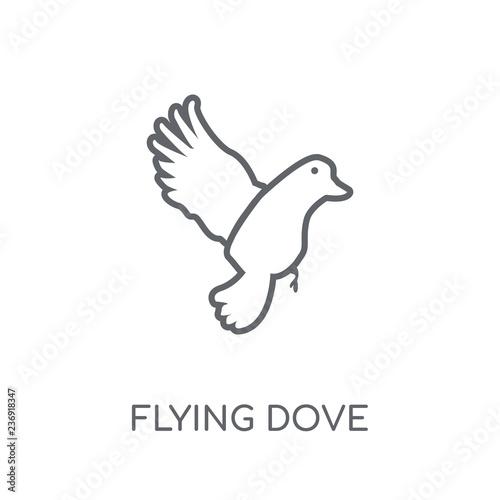 Flying Dove linear icon  Modern outline Flying Dove logo