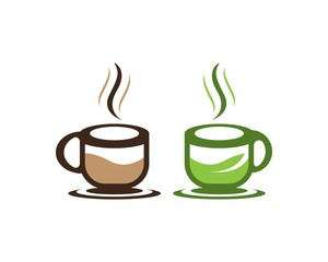 Coffee and green tea cup icon template