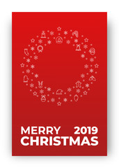 Merry Christmas card. Design layout with decoration of Xmas icons and Merry Christmas typography.