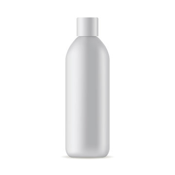 Tall cosmetic bottle mock up isolated on white background. Vector illustration