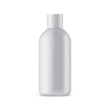 Small cosmetic bottle mockup isolated on white background. Vector illustration