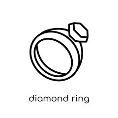 Diamond ring icon. Trendy modern flat linear vector Diamond ring icon on white background from thin line Luxury collection
