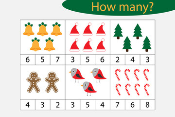 How many counting game with christmas pictures for kids, educational maths task for the development of logical thinking, preschool worksheet activity, count and choose the result, vector illustration