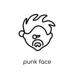 Punk face icon. Trendy modern flat linear vector Punk face icon on white background from thin line People collection