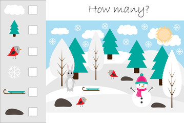 How many counting game with winter picture for kids, educational maths task for the development of logical thinking, preschool worksheet activity, count and write the result, vector illustration