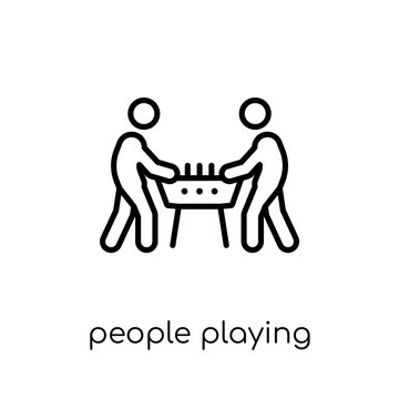 People playing Table football icon icon. Trendy modern flat line