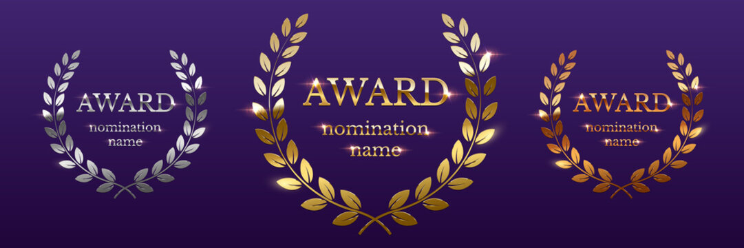 Golden, silver and bronze award signs with laurel wreath isolated on purple background. Vector award design templates.
