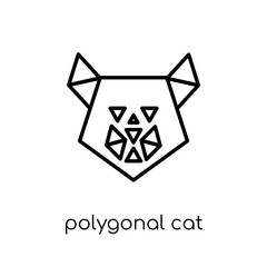 polygonal cat icon. Trendy modern flat linear vector polygonal cat icon on white background from thin line Geometry collection, outline vector illustration