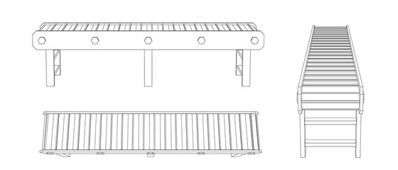 Empty conveyor belt. Vector outline illustration