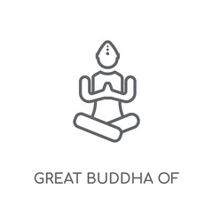 Great buddha of thailand linear icon. Modern outline Great buddha of thailand logo concept on white background from Architecture and Travel collection