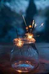 Inside a bottle of fireworks
