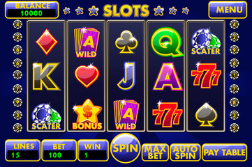 Vector Interface slot machine. Complete menu of graphical user interface and full set of buttons for classic casino games creation. Big set of gaming casino icons