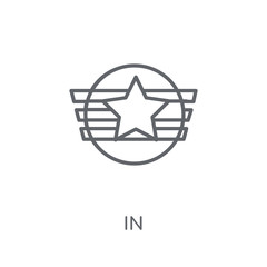 Insignia linear icon. Modern outline Insignia logo concept on white background from army and war collection