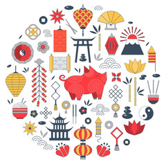 Chinese New Year elements in circle shape for greeting postcard design and print. China Spring Festival 2019 card with pig, lotus flowers, lanterns, fireworks, coins and traditional china ornament.