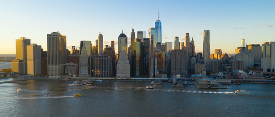 Tall Buildings in the Manhattan Skyline at Sunset New York City