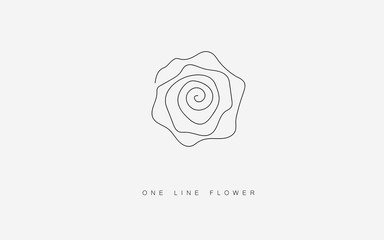 Rose vector, summer flowers isolated on white background. Continuous line drawing. Vector illustration
