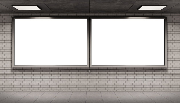 Two billboards frames in underground tube station mockup 3D rendering