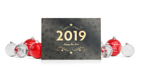 2019 card greetings laying on red baubles isolated 3D rendering