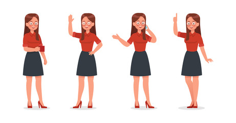 Business Woman showing different gestures character vector design. no2