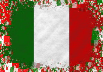 Illustration of an Italian flag with a frame of small flags