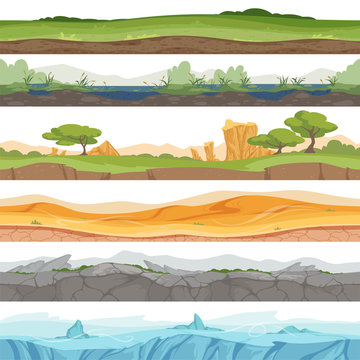 Parallax seamless ground. Game landscape ice grass water desert dirt rock vector cartoon background. Illustration of game ground desert, stone rock and swamp