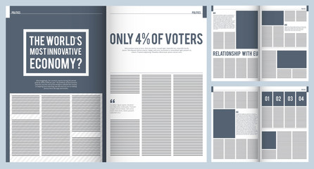 Magazine layout. Mockup template of modern magazine advertisement brochure cover design with place for text and photos vector project. Illustration of news article journal, column brochure newsprint