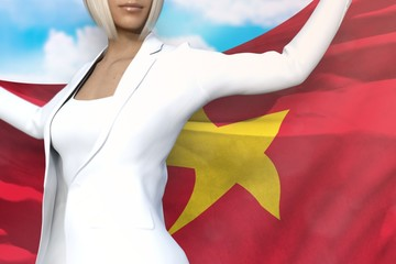 beautiful business lady holds Vietnam flag in hands behind her back on the blue sky background - flag concept 3d illustration