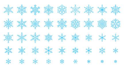 Snowflake simple color line icons snow vector set