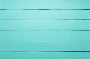 Empty old teal green wooden table