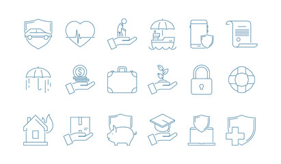 Protection icons. House cars life business and money insurance medicine caring people line thin vector pictures. Illustration of car and house protection, home safety, business insurance