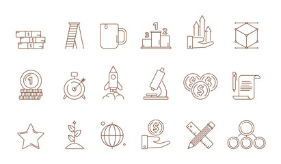 Startup symbols. Business idea franchise creative production marketing development perfect strategy rocket vector line icon collection. Illustration of rocket startup, development and start icons