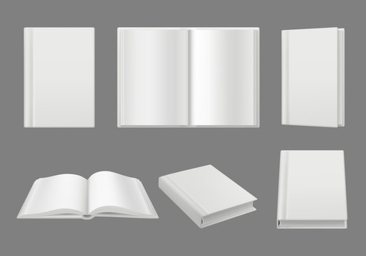 Books cover template. Clean white 3d pages isolated brochure or magazine vector realistic mockup. Illustration of textbook and book page mock-up