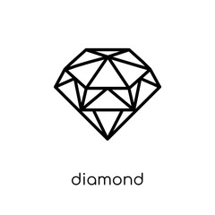 Diamond icon. Trendy modern flat linear vector Diamond icon on white background from thin line Luxury collection