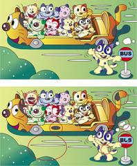 間違い探しクイズ_猫のバス