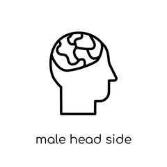 Male head side view with brains icon. Trendy modern flat linear