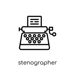 Stenographer icon. Trendy modern flat linear vector Stenographer icon on white background from thin line law and justice collection