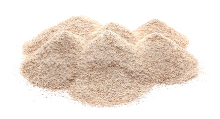 Pile of integral wheat flour isolated on white