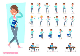 Set of office woman worker character vector design. Presentation in various action with emotions, running, standing, walking and working.