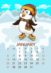 Calendar for 2019 with cartoon funny animals, hand drawing, vector illustration. Colorful, bright design of a wall-mounted rocker calendar with painted cute animals on the background seasonal nature